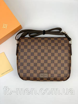 Кожаный мессенджер Луи Виттон коричневая шашка | Сумка-планшетка Луи Виттон мужская женская коричневая