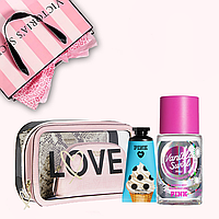 Подарочный набор от Victoria's Secret (косметичка спрей крем для рук)