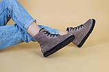 Зимние женские замшевые бежевые ботинки, фото 5