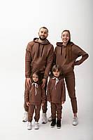 Утепленный семейный костюм, костюм для всей семьи светло-коричневый (мокко) L/XL, детские на рост 92-128 см