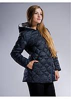 Женская стеганная куртка капюшон+карман