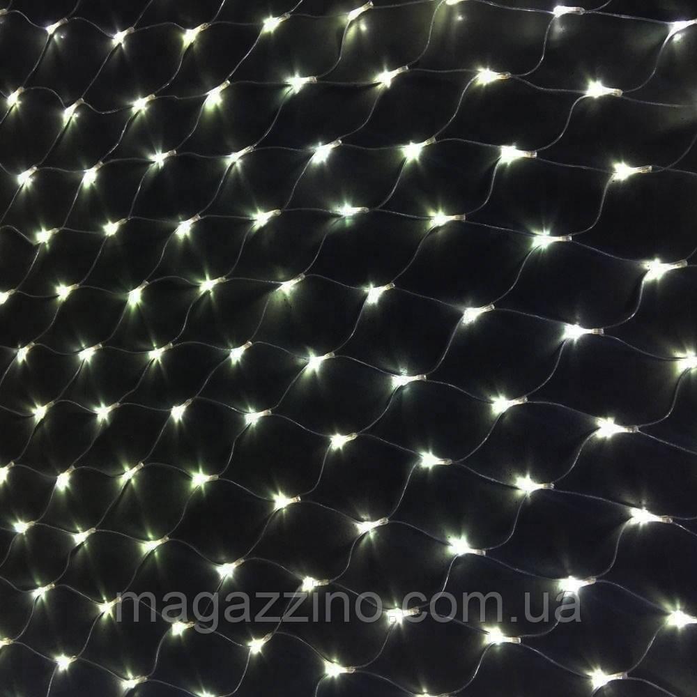Гирлянда сетка светодиодная 240 LED, Белая, прозрачный провод, 3х0,7м.