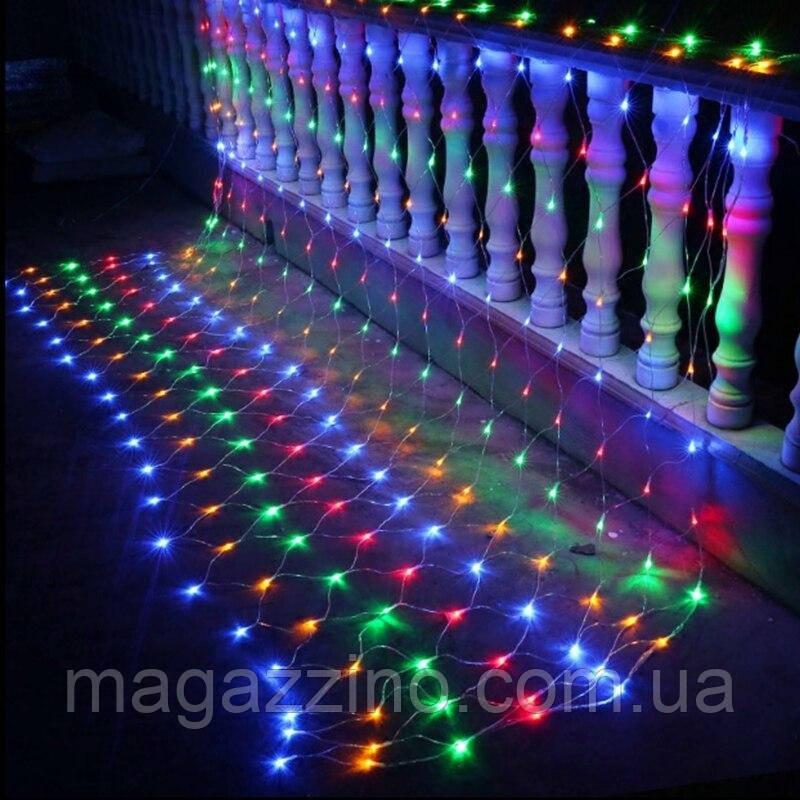 Гирлянда сетка светодиодная 240 LED, Мультицветная, прозрачный провод, 3х0,7м.