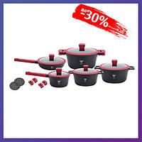 Набор кухонной посуды 10 предметов кастрюли с антипригарным покрытием Top Kitchen TK00019 Черный толстым дном
