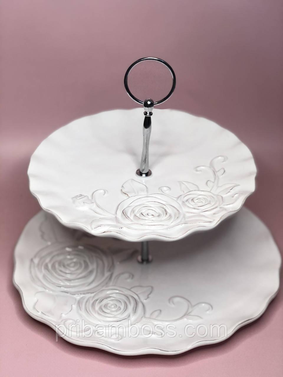 Этажерка керамическая двухъярусная Аэлита, цвет - белый, 27см