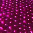 Гирлянда сетка светодиодная 240 LED, Розовая, прозрачный провод, 3х0,7м., фото 2