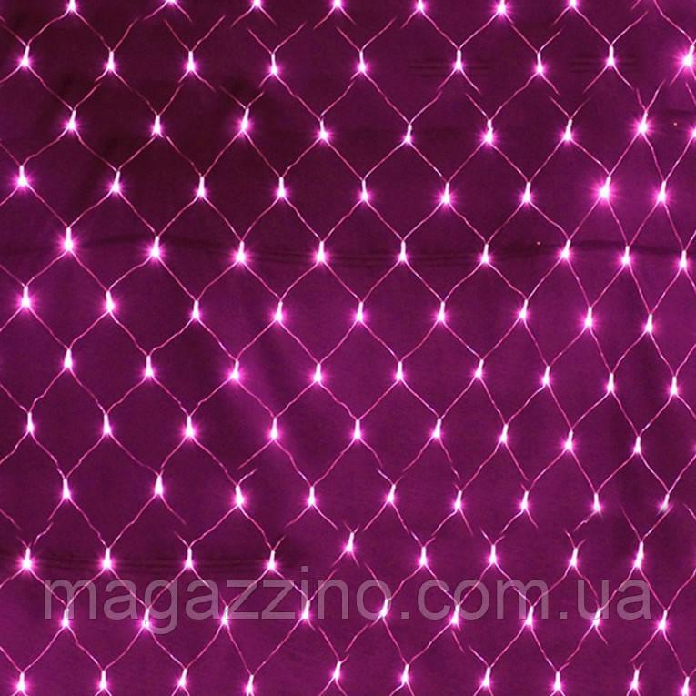 Гирлянда сетка светодиодная 240 LED, Розовая, прозрачный провод, 3х0,7м.