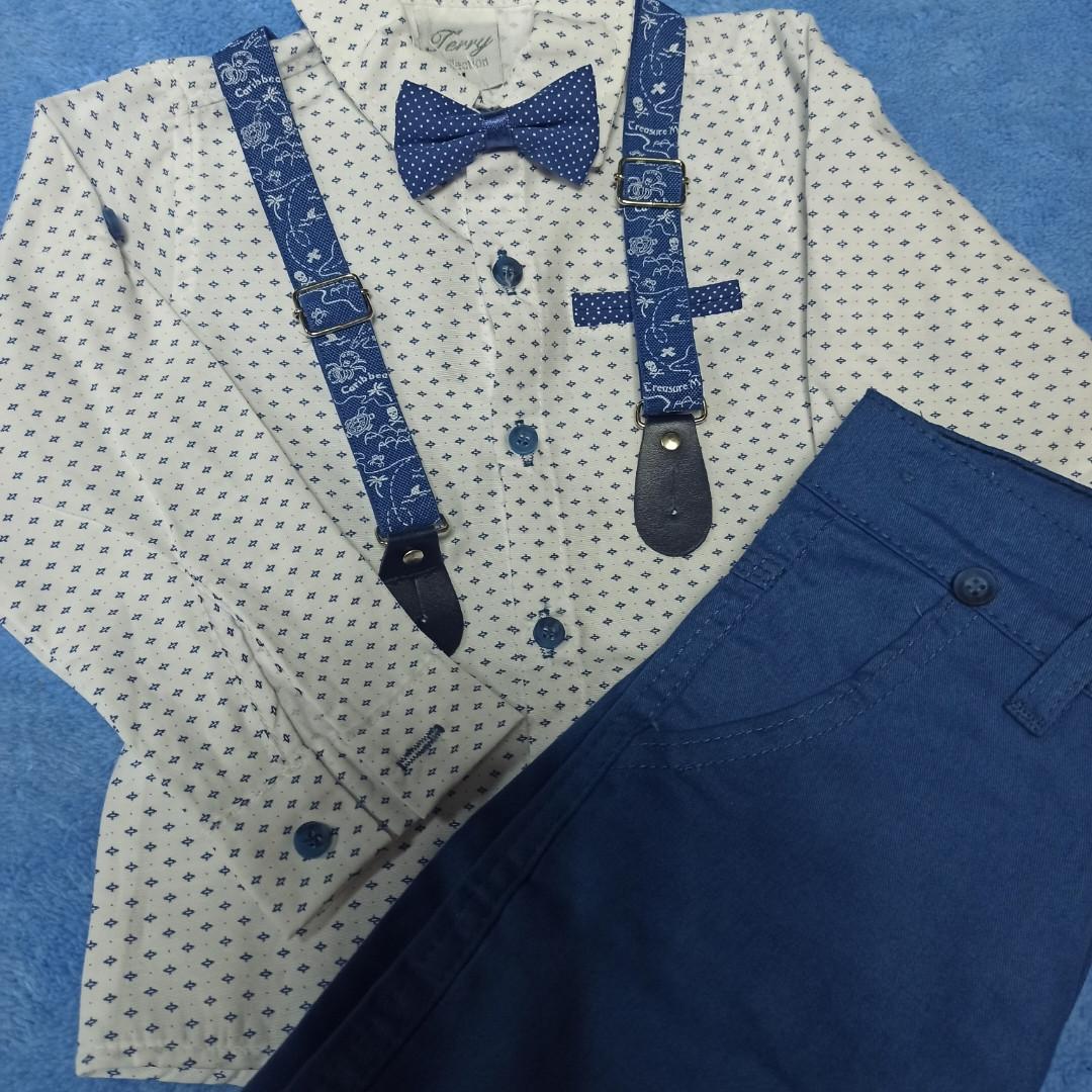 Нарядный модный красивый костюм для мальчика. В комплект входит рубашка. штаны. бабочка и подтяжки.