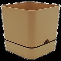Горшок для цветов квадратный Begonya 2,3 л коричневый, фото 1