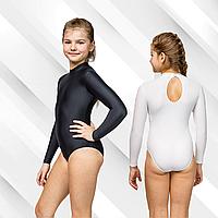 Купальник тренировочный воротник стойка для гимнастики и хореографии, бифлекс