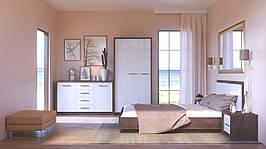Комплект меблів у спальню Intarsio Virgo Дуб ансберг темний + Ультра білий металік