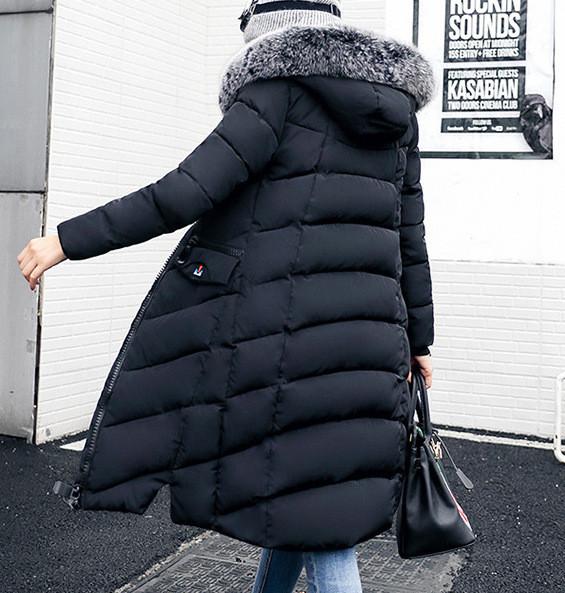 Куртка зимняя женская черная, длинный пуховик  СС-7801-10