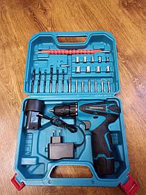 Аккумуляторный шуруповерт с набором инструментов и 2 аккумуляторами