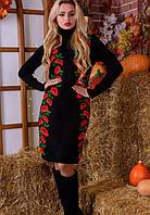 Вязаное платье с маками (42-50) черный