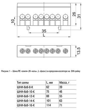 """Шина L """"фаза"""" в корпусном изоляторе на DIN-рейку ШНИ-6х9-10-К-Ср IEK, фото 2"""