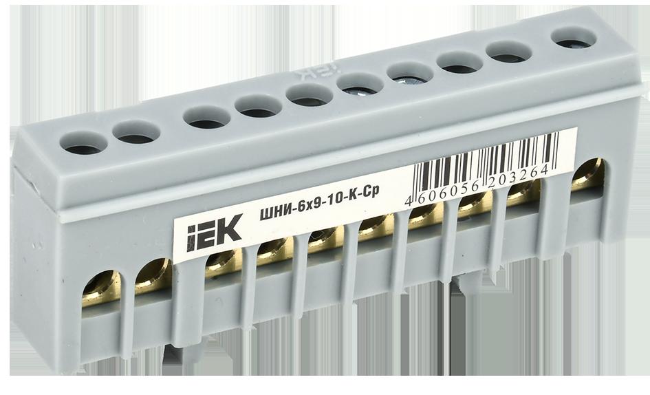 """Шина L """"фаза"""" в корпусном изоляторе на DIN-рейку ШНИ-6х9-10-К-Ср IEK"""