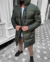 Мужская зимняя длинная куркта из плащёвки зелёная, холлофайбер до -25С ( Турция ), фото 1