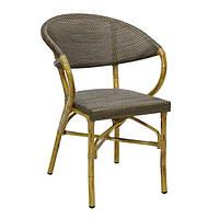 Кресло с подлокотниками  BAMBUS ,бежевое,для уличных кафе