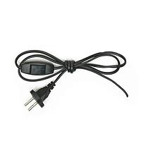 Провод 1,3 м с выключателем и  плоской вилкой черный