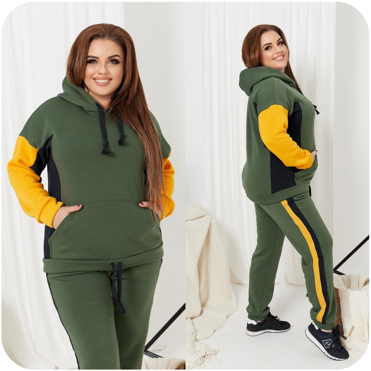 Стильный и тёплый прогулочный костюм - толстовка+штаны, разные цвета р.48-50,52-54,56-58,60-62,64-66 Код 3382Ф