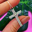 Серебряный католический крестик - Крестик католический серебро 925 с камнями, фото 5