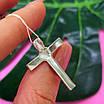 Серебряный католический крестик - Крестик католический серебро 925 с камнями, фото 6