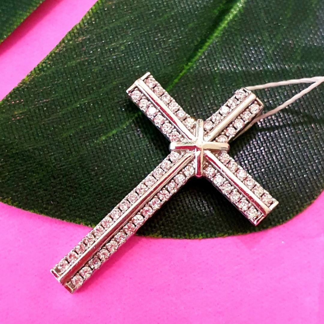 Серебряный католический крестик - Крестик католический серебро 925 с камнями