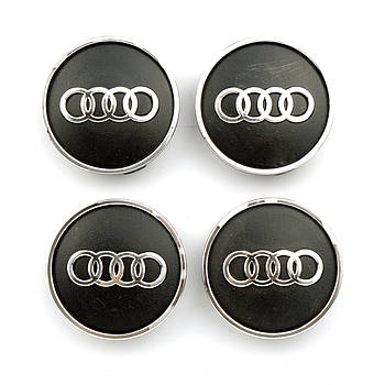 "Колпачки на титаны ""Audi"" (60/55мм) черн/хром. пластик объемный логотип(4шт)"