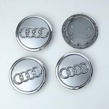 """Колпачки на титаны """"Audi"""" (69/57мм) серые/хром. пластик объемный логотип+кольцо(4шт)"""