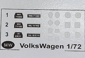 Декаль для сборной модели военного автомобиля Volkswagen  в масштабе 1/72.