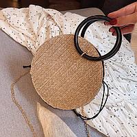 Плетенная сумка круглая из ротанга на цепочке, Женские сумки опт 2020, Плетеная сумка бежевая AL-3606-16