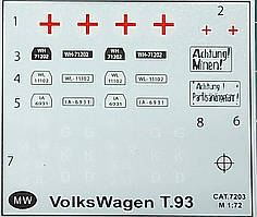 Декаль для сборной модели военного автомобиля Volkswagen T.93  в масштабе 1/72.
