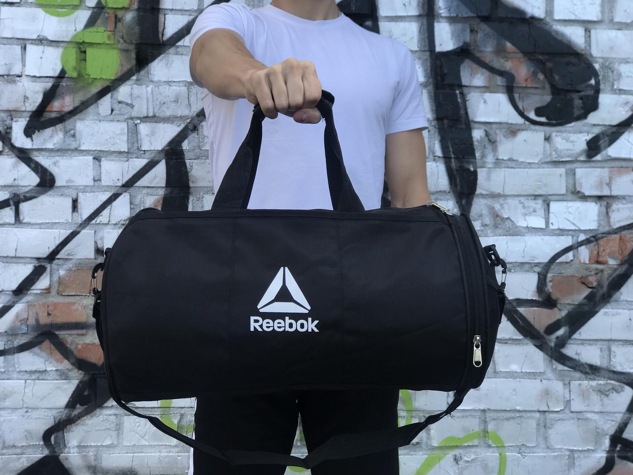 Мужская спортивная сумка в стиле Reebok, черная с белым логотипом