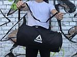 Мужская спортивная сумка в стиле Reebok, черная с белым логотипом, фото 2