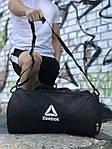 Мужская спортивная сумка в стиле Reebok, черная с белым логотипом, фото 5