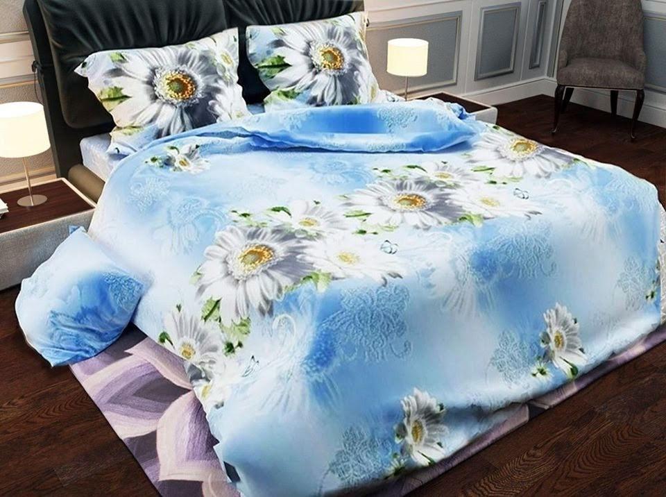 Комплект красивого и качественного постельного белья семейка с цветами, ромашки