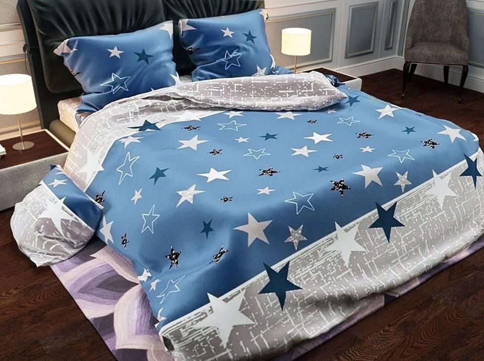 Комплект красивого голубого постельного белья семейка, со звездами