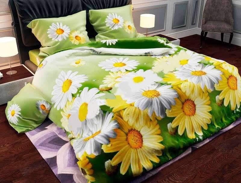 Яркое и качественное постельное белье, полуторка, ромашки желтые