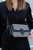 Жіноча сумка Наомі екошкіра 28*16*8 см чорно-білий