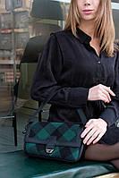Жіноча сумка Наомі екошкіра 28*16*8 см клітина зелений