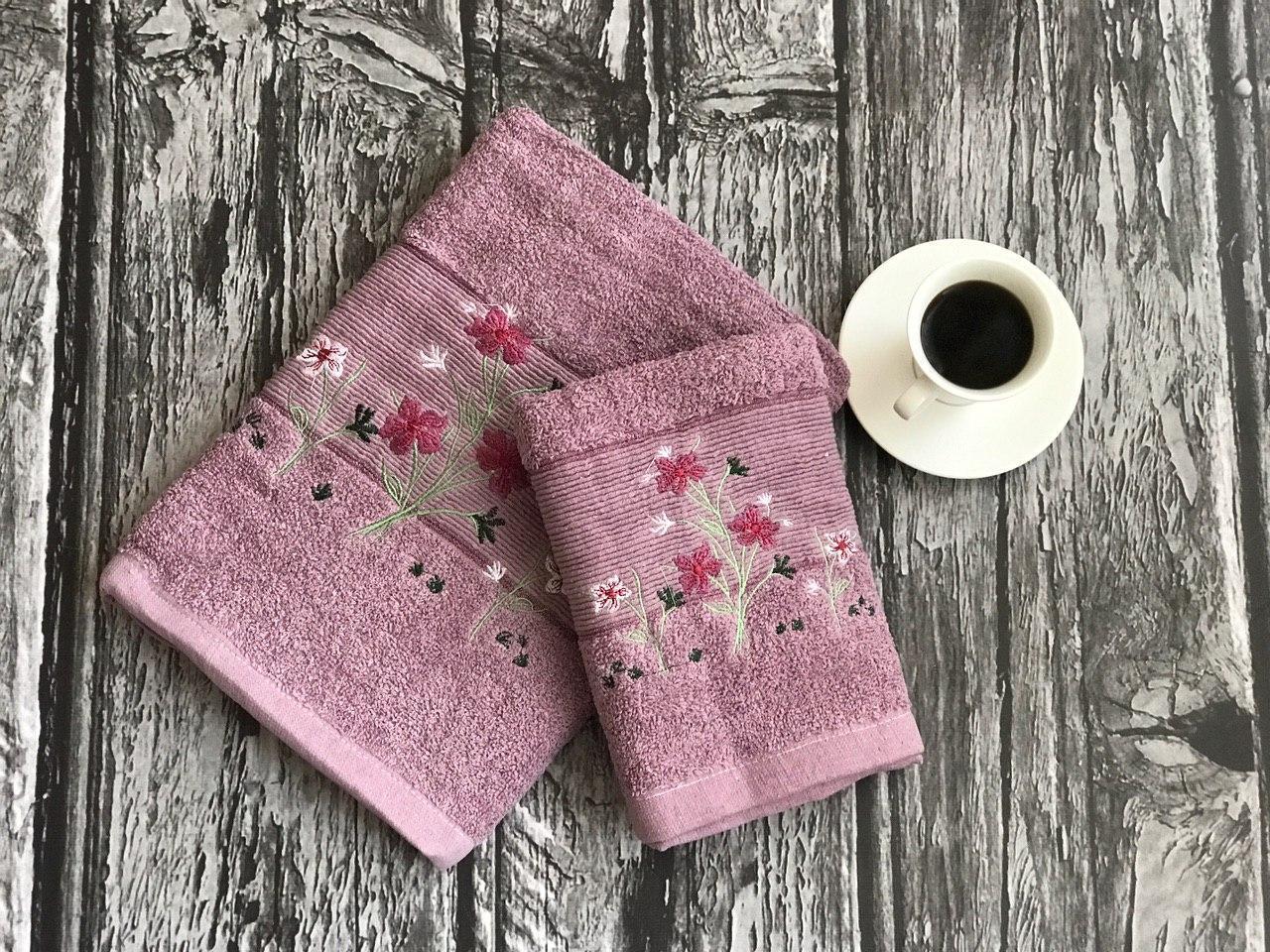 Набор полотенец баня + лицо, фиолетовый (2 шт.)