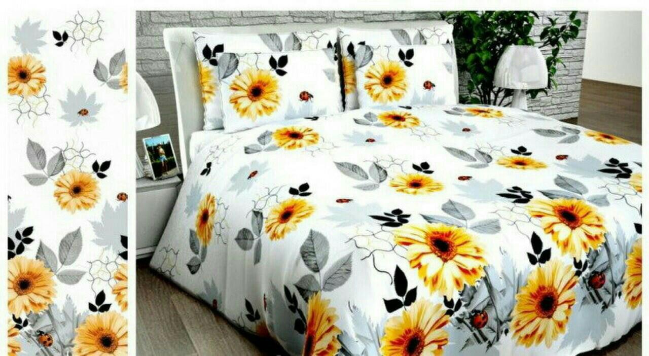 Комплект семейного постельного белья, желтые цветы