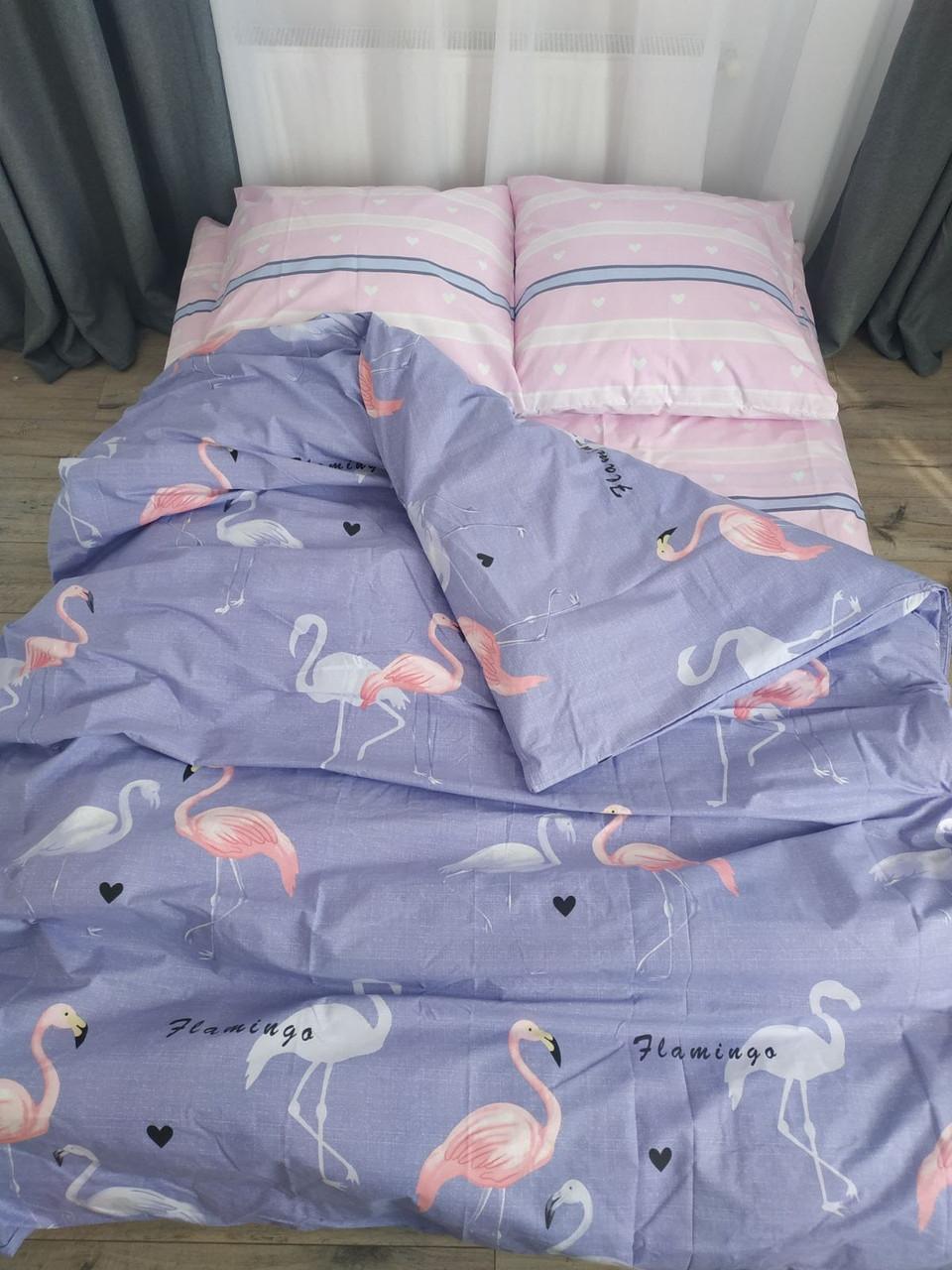 Двуспальное постельное белье с фламинго