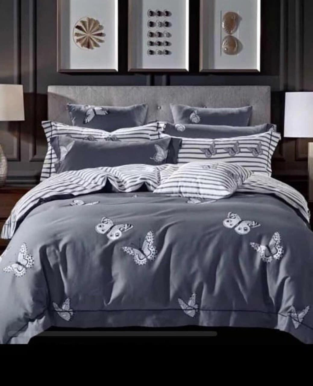 Двухспальный комплект постельного белья, серый