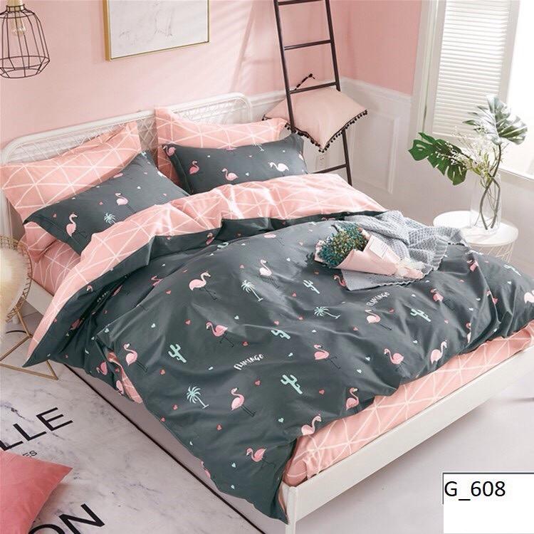 Красивое постельное белье, семейка с фламингами