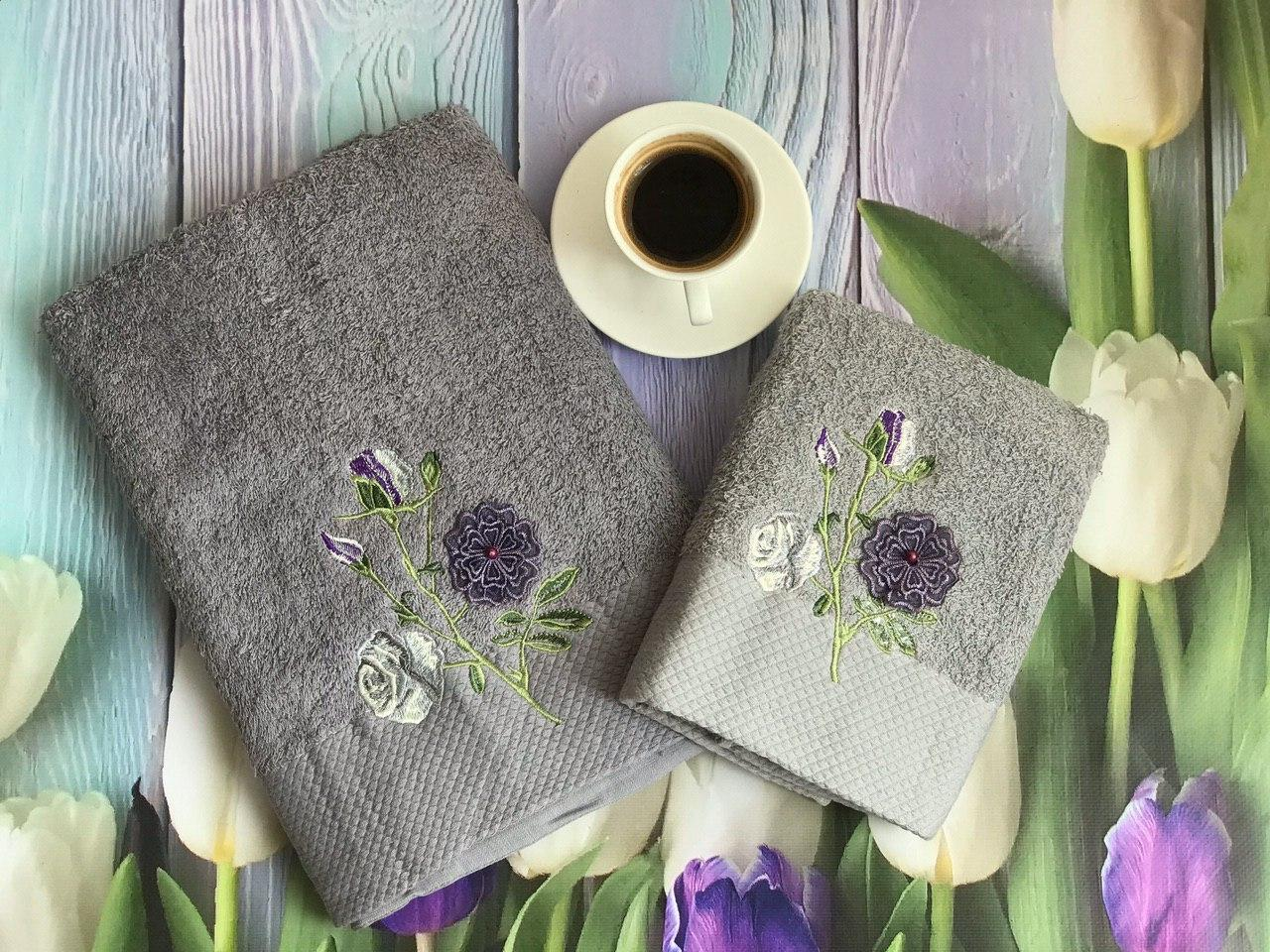 Набор полотенец серый цветы (2 шт.)