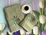 Набор полотенец серый цветы (2 шт.), фото 3