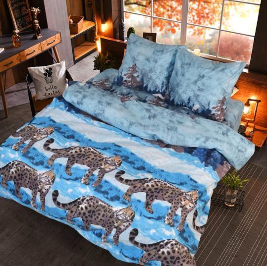 Качественное красивое постельное белье двойка, тигр