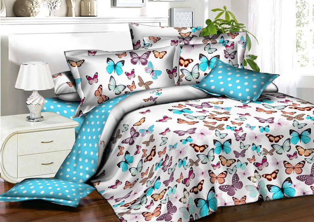 Красивое постельное белье для девочек, полуторка, бабочки