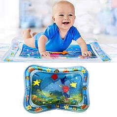 Детский надувной игровой водный коврик-аквариум (голубой)